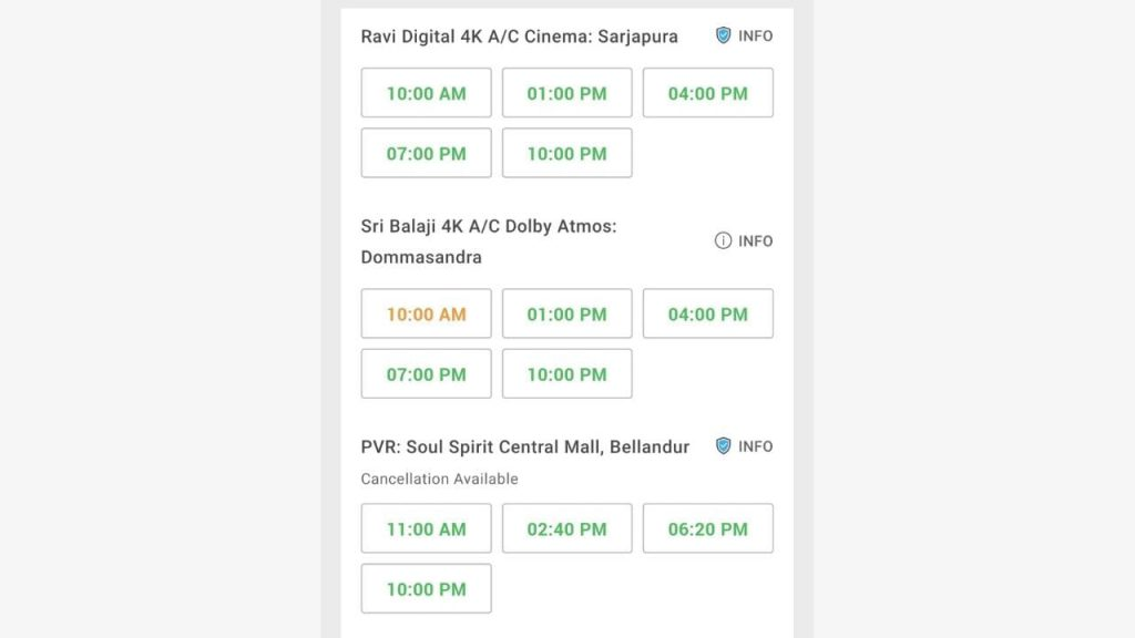 Choose movie theater and the show timing from this list given, then Accept T&C.